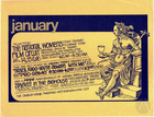 Flyer for January show schedule of Omaha Magic Theatre, including Brazil Fado: You're Always With Me, Pro Game, and Babes In The Bighouse by Megan Terry.