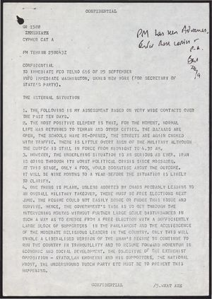 Confidential Cypher from Anthony Parsons re: Internal Situation In Iran, 1978