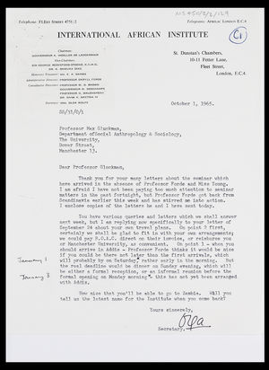 Letter from Mrs Olga Wolfe to MG, 1 Oct. 1965