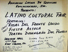 Flyer for a Latino Cultural Fair with Teatro Desengano del Pueblo.