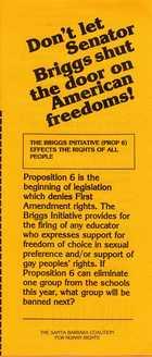 Don't let Senator Briggs shut the door on American freedoms!