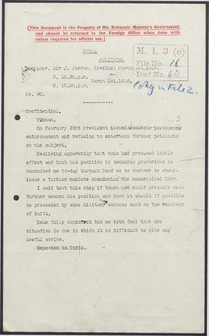 Confidential Decypher from Sir J. Jordan to United Kingdom Foreign Office re: Enthronement Postponed; plus Handwritten Note from R. B. Denny re: Difficult Conditions in Suifu, March 1916