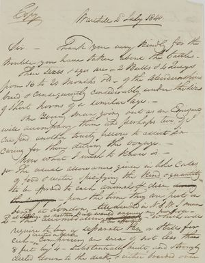 Copy of Letter from William Leslie, July 2, 1840