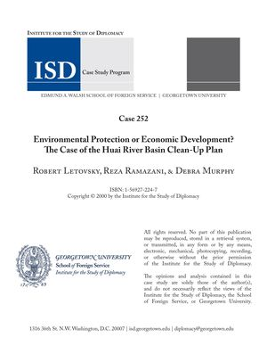 Environmental Protection or Economic Development? The Case of the Huai River Basin Clean-Up Plan