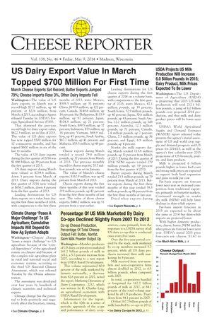 Cheese Reporter, Vol. 138, No. 46, Friday, May 9, 2014