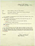 Memo from 1st Lt. James M. Adamson, Jr. to Dept. Adjutant re: Answer to Questionnaire, December 23, 1919