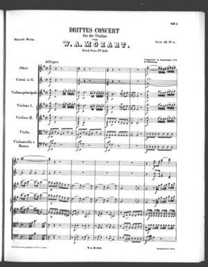 Drittes Concert für die Violine, K. 216, G Major