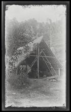 A canoe house, showing the interior, at Sychele, Rubiana Lagoon, New Georgia Island.