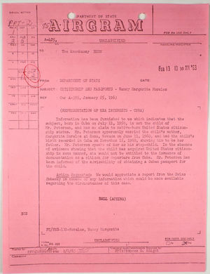 Airgram from Department of State to American Embassy in Bern re: Citizenship and passports - Nancy Margarita Morales, February 13, 1963