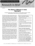 Research in Brief: The Status of Women in Iowa, Highlights, 2002