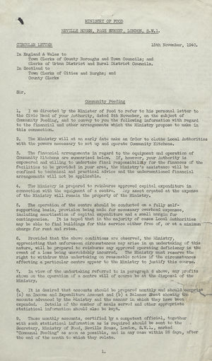 Circular Letter from H.L. French to Town and County Clerks in England, Wales, and Scotland re: Community Feeding, November 15, 1940