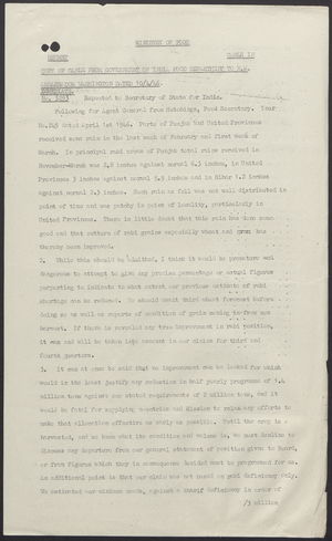 Copy of Cable from India Government Food Department to H.M. Ambassador Washington, April 10, 1946