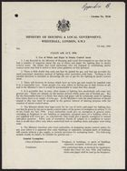 Circular Letter from P. D. Coates, Ministry of Housing and Local Government, re: Clean Air Act, 1956 -- Use of Sticks and Paper in Smoke Control Areas, Model Question and Answer Booklet, Clean Air Advisory Service. Printed by Her Majesty's Stationery Office