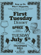 First Tuesday Dinner, Tuesday, July 5th