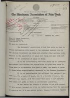 Letter from S. C. Mead, Merchants' Association of New York, to J. Joyce Broderick, re: Agreement on the importation of opium from UK to China, January 29, 1920