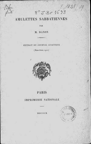 Amulettes Sabbatiennes (Journal Asiatique (Mars-Avril 1910).)