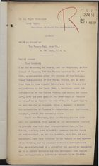 Brief: William H. Orrett to Lord Elgin on Behalf of Panama Rail Road Company re: Transportation Costs for Repatriation of Labourers, July 16, 1907