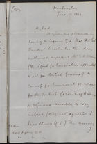 Copy of Letter from John Hodge to Lord Lyons re: Canvas for Emigrants of Colour from U.S. to British Honduras and British Guiana, Approved by President Lincoln, June 13, 1863