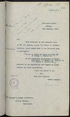 Letter from Victor Cavendish of Devonshire to Sir Colville Barclay re: Acts of Parliament on Canadian Importation of Opium, Cocaine and their Derivatives, January 15, 1920