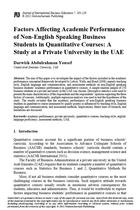 Factors Affecting Academic Performance of Non-English Speaking Business Students in Quantitative Courses: A Study at a Private University in the UAE