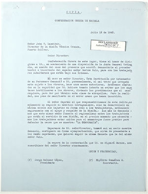 Copy of Letter from Jorge Salazar to John T. Lassiter re: Carlos Ruiz, July 13, 1943