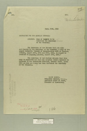 Memo from Henry Jervey re: Copy of Records to be Furnished the Secretary of the Treasury, September 30, 1918