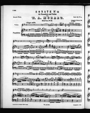 Sonate No. 14 für Pianoforte und Violine, K. 29, D Major