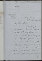 Letter from Lt. Governor Eyre to Duke of Newcastle re: Emigration, September 20, 1862