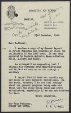 Letter from G.R.P. Wall to Sir John Bodinnar Including Second Report on Potato Supplies, Dec. 23, 1942