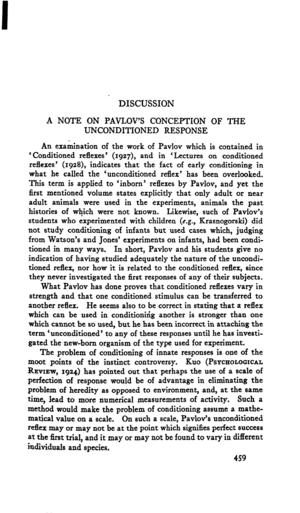 Discussion: A Note On Pavlov's Conception of the Unconditioned Response