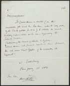 Memorandum from W. Salisbury, January 15, 1877