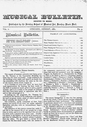 Musical Bulletin, Vol  2, no  9, August, 1881   Alexander Street, a