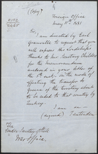 Letter from Lord Tenterden to the Under Secretary of State, War Office, May 11, 1881