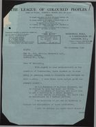 Letter from Harold A. Moody to Malcolm MacDonald re: Commissions for Colonials, November 8, 1939