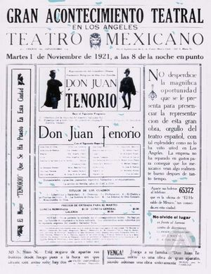 Advertisement for Don Juan Tenorio Play in Los Angeles.
