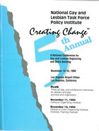 National Gay and Lesbian Task Force Policy Institute: 5th Annual Creating Change, November 13-15, 1992