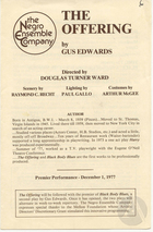 Playbill for the premiere of The Offering by Gus Edwards