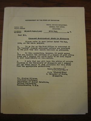 C.D. Clunies-Ross to Stanley Milgram, May 20, 1964