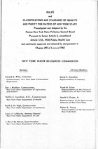 Rules and Classifications and Standards of Quality and Purity for Waters of New York State