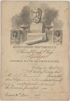Card of Edinburgh University Second Greek Class, 1818, with brief report on Haining's performance as student