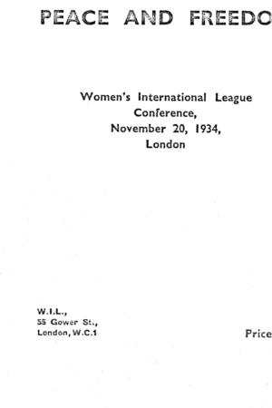 Africa, Peace and Freedom: Women's International League Conference, November 20, 1934, London