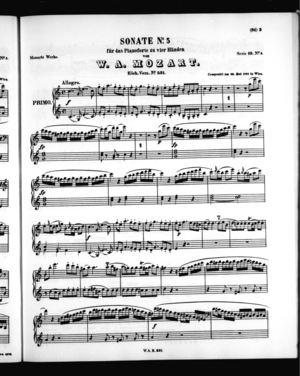 Sonate No. 5 für zwei Pianoforte zu vier Händen, Primo Part, K. 521, C Major