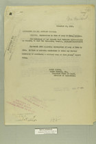 Memos from Henry Jervey and Newton D. Baker re: Destruction by Fire of Camp at Yuma, Arizona, Nov-Dec 1918