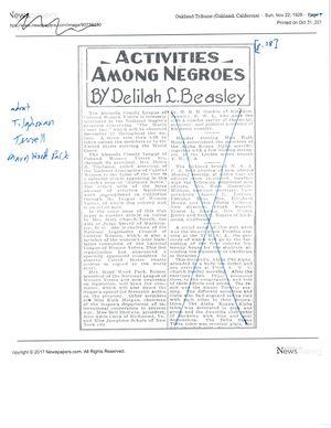 Activities Among Negroes