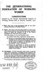 Constitution Adopted at the Second International Congress of Working Women Held at Geneva, October, 1921