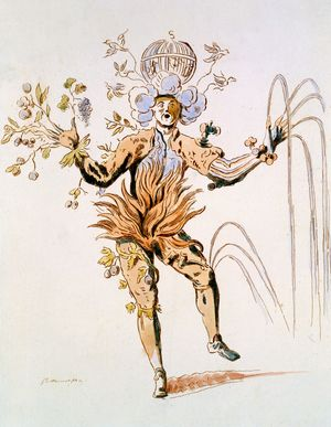 Costume Design for the four elements in a 17th century