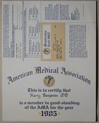 American Medical Association Membership Certificate, 1985