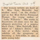 Among the Women Writers, Miss Radclyffe Hall Exhibits All the Symtoms of Becoming a Best Seller for Her Adam's Breed Novel, Baptist Times, October 7