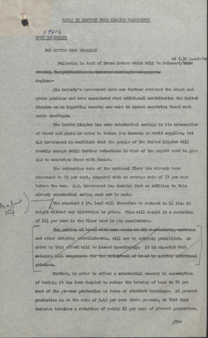 Cable to British Food Mission, Washington, for Maurice I. Hutton from Herbert Broadley - Typed and Handwritten, April 25, 1946