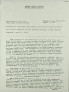 Press Release: Statement by Ambassador John Scali, United States Representative to the United Nations, in the Security Council, on the Lebanese Complaint, April 24, 1974